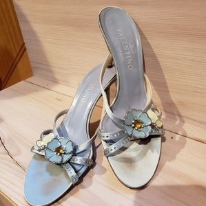 Valentino blue pumps with flower jewels